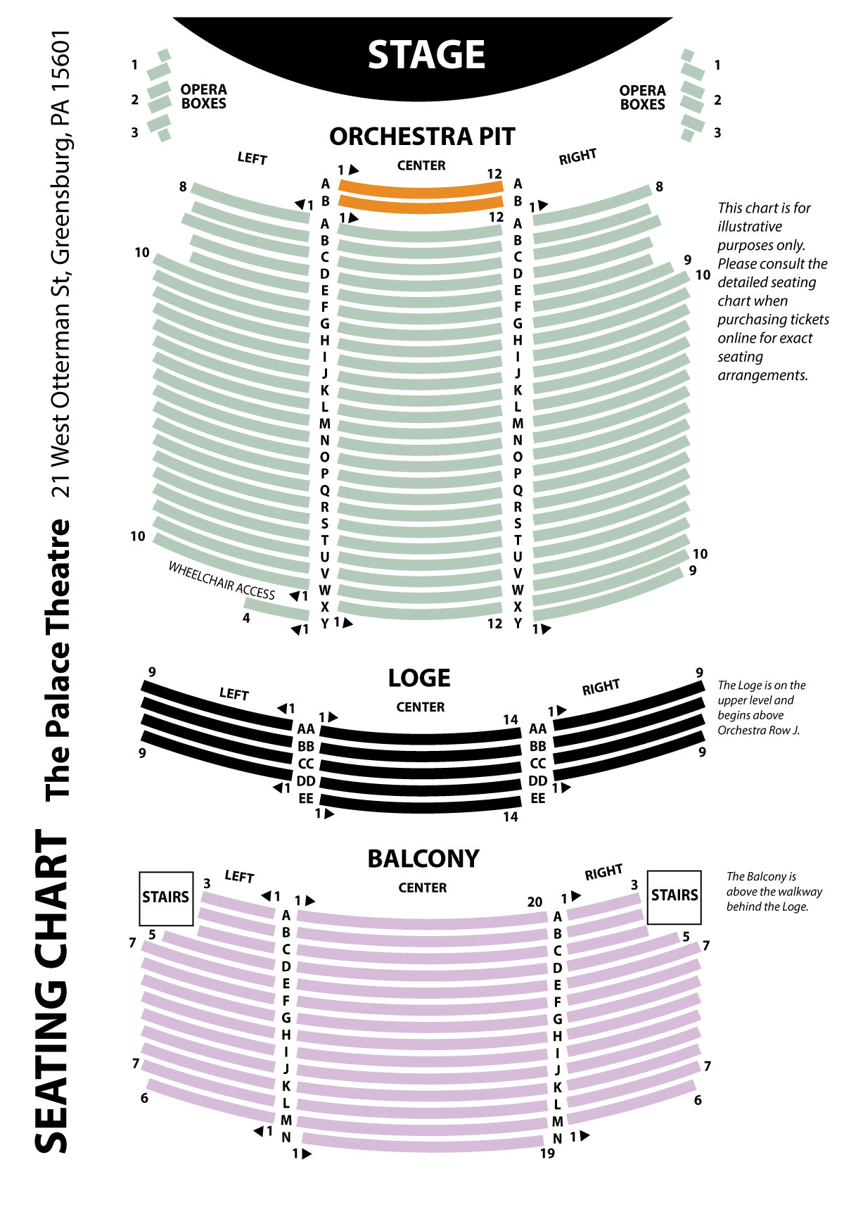 Seating chart the palace theatre